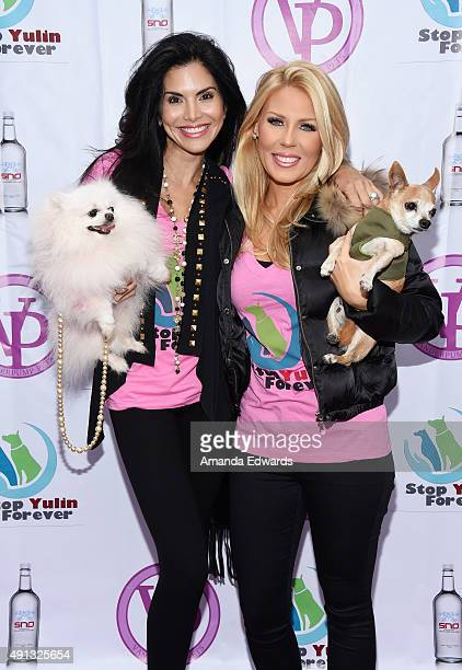 Pink Dog actress Joyce Giraud television personality Gretchen Rossi and Remi attend the StopYulinForever March to End Dog Cruelty in Yulin China at...