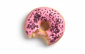 Pink doughnut with bite