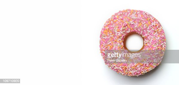 Pink doughnut with copy space