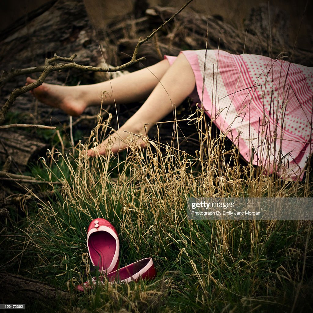 Pink dress and shoes by the woods : Stock Photo