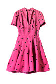 Pink knee-length dress with short sleeves on white background