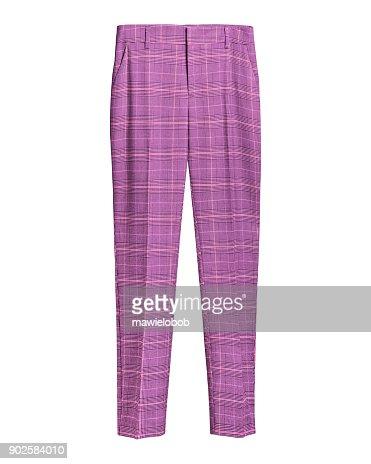 Pink elegant checked retro trousers isolated white : Stock Photo