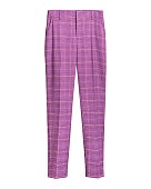 Pink elegant checked retro trousers isolated white