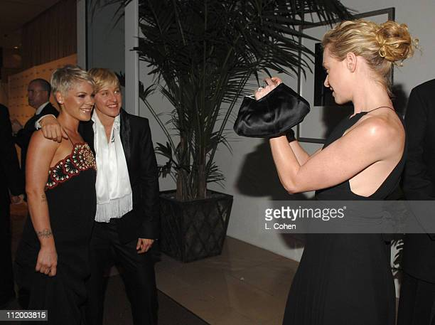 Pink Ellen DeGeneres and Portia De Rossi during 2007 Clive Davis PreGRAMMY Awards Party Red Carpet at Beverly Hills Hilton in Beverly Hills...