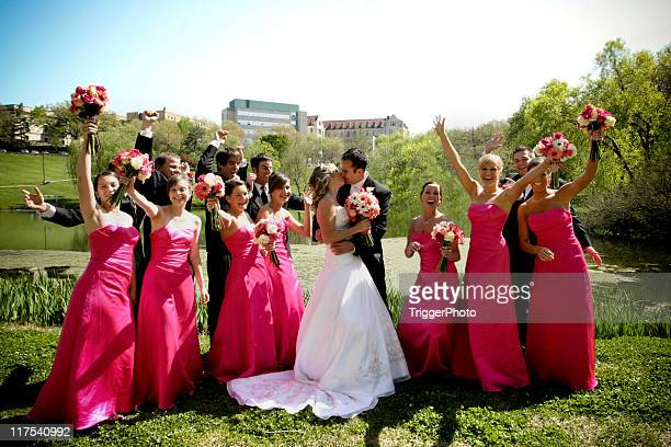 Pink Excited Wedding Party Portraits