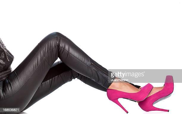 Mujer zapatos rosas