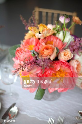Pink floral table centerpiece