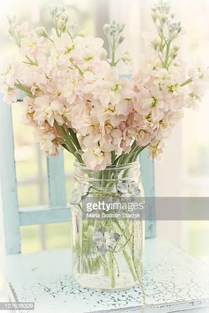 Pink flowers in Mason jar