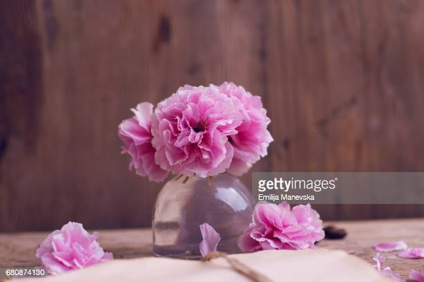 Pink flowers in small vase