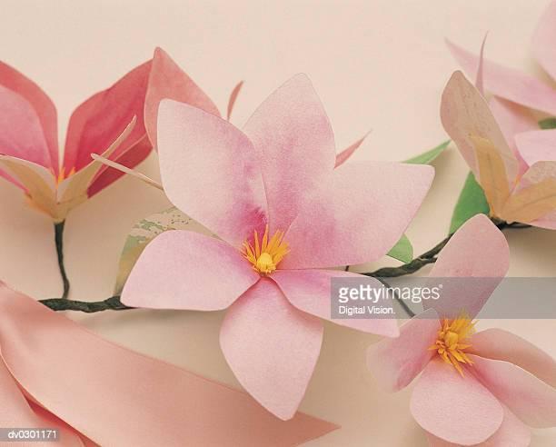 Pink flowers on stem