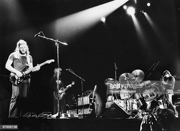 Pink Floyd perform live on stage at Ahoy in Rotterdam Holland in February 1977 during the Animals tour LR David Gilmour Snowy White Nick Mason Roger...