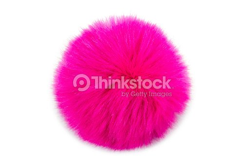 Pink fur ball isolated on white background : Stock Photo