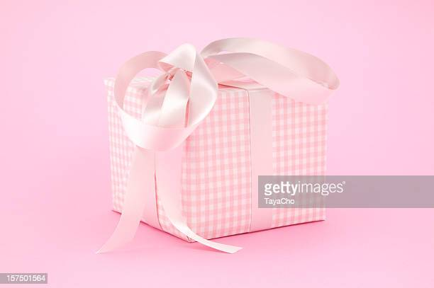 Pink Gingham gift box with  ribbon