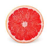 Sliced pink grapefruit isolated on white background.
