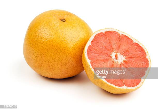 Pink Grapefruits Citrus Cut in Half Isolated on White Background
