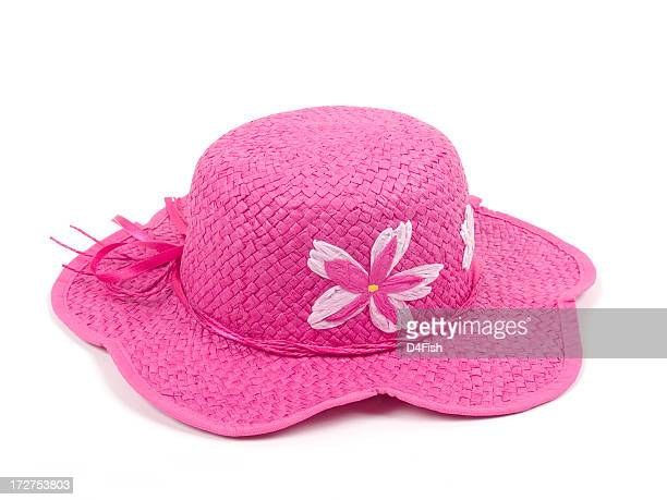 Pink hat with pink floral details and white