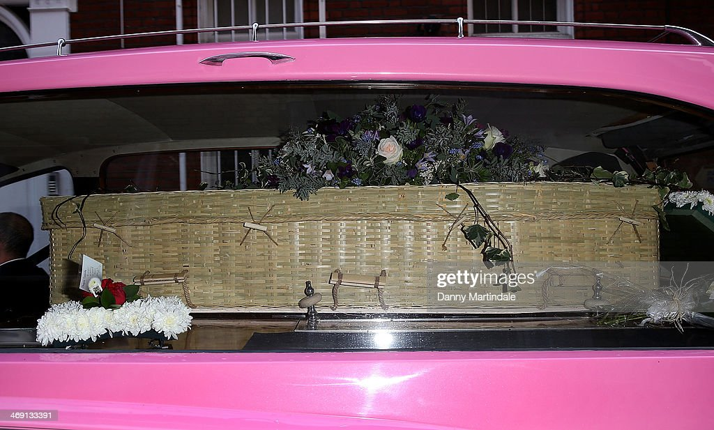 A pink hearse arrives with Roger Lloyd-Pack's coffin in to his funeral of actor Roger Lloyd-Pack at St Paul's Church on February 13, 2014 in London, England.