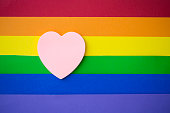 Pink heart on rainbow background.