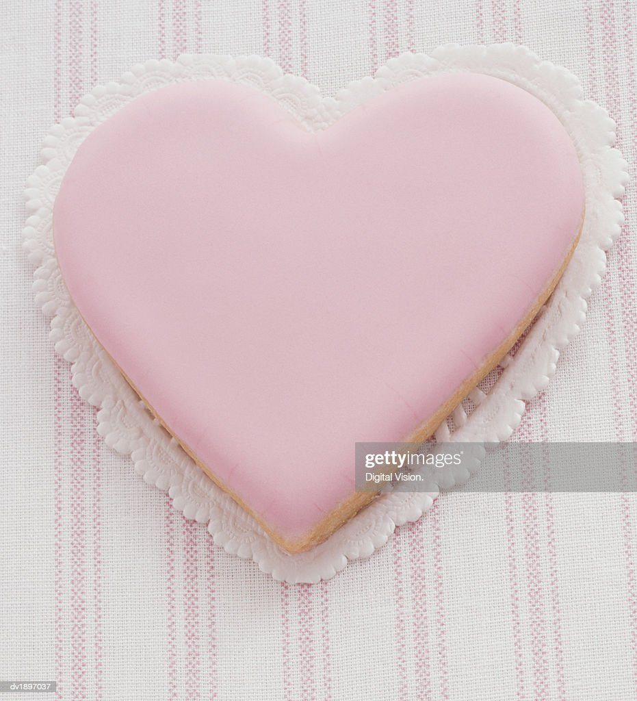 Pink Heart Shaped Cookie : Stock Photo