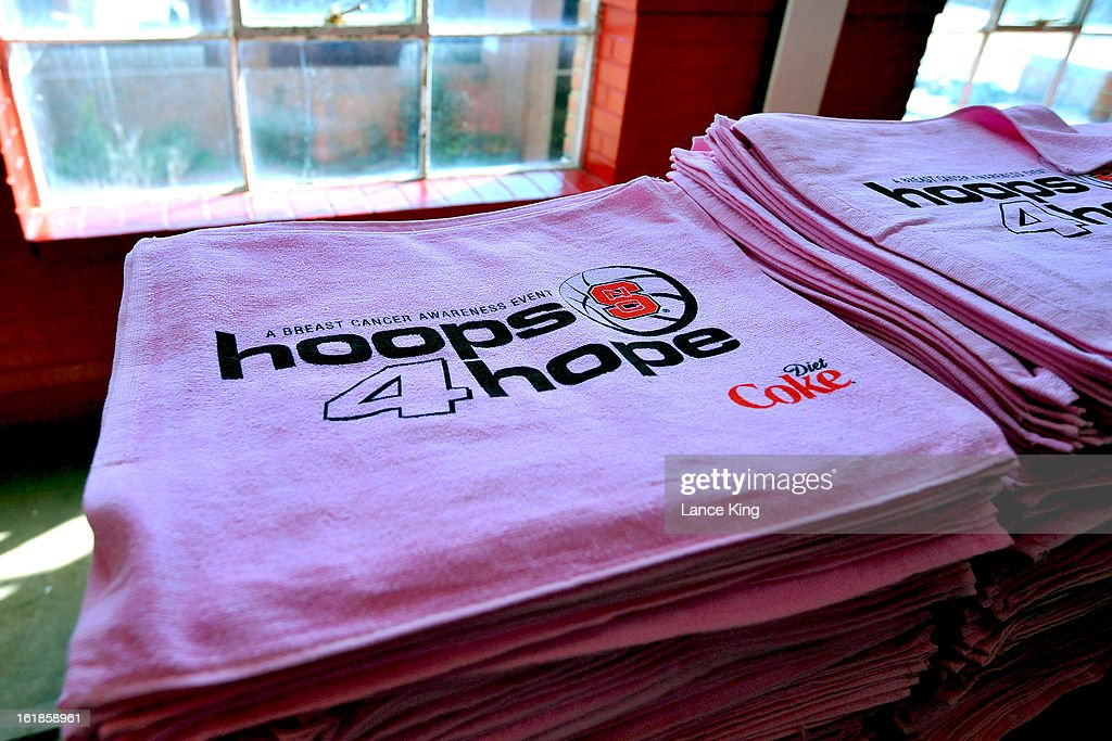 Pink 'hoops 4 hope' towels are seen at Reynolds Coliseum prior to a game between the Georgia Tech Yellow Jackets and the North Carolina State Wolfpack on February 17, 2013 in Raleigh, North Carolina.