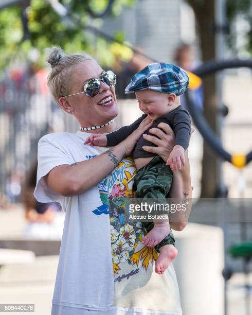 Pink is seen with her son Jameson Moon Hart at a playground in Downtown on July 5 2017 in New York City