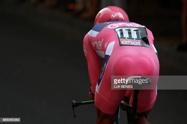Pink Jersey Colombia's Nairo Quintana of team Movistar competes during the Individual timetrial between Monza and Milan during the last stage of the...
