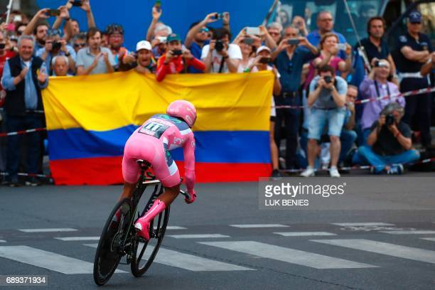 Pink Jersey Colombia's Nairo Quintana of team Movistar competes during the Individual timetrial between Monza and Milan on the last stage of the...