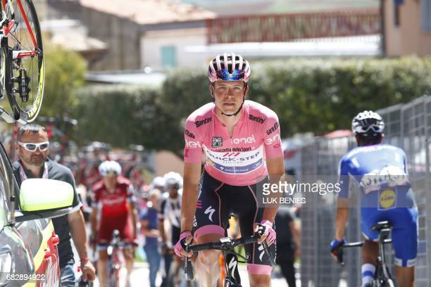 Pink jersey Luxembourg's Bob Jungels of team QuickStep arrives to take the start of the 9th stage of the 100th Giro d'Italia Tour of Italy cycling...