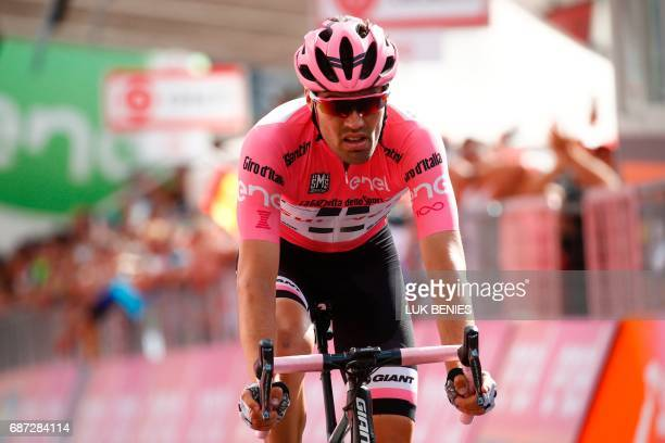 Pink jersey Netherlands' Tom Dumoulin of team Sunweb crosses the finish line of the 16th stage of the 100th Giro d'Italia Tour of Italy cycling race...