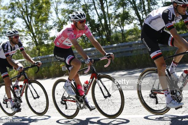 Pink Jersey Netherlands' Tom Dumoulin of team Sunweb rides during the 14th stage of the 100th Giro d'Italia Tour of Italy cycling race from...