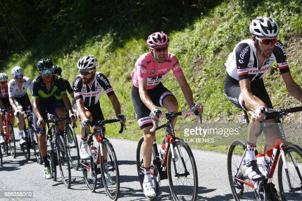 Pink Jersey Netherlands' Tom Dumoulin rides during the 15th stage of the 100th Giro d'Italia Tour of Italy cycling race from Valdengo to Bergamo on...