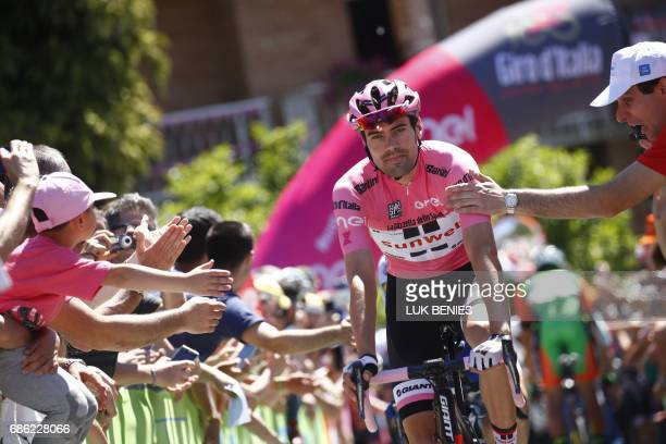 Pink Jersey Tom Dumoulin from Netherlands arrives to take the start of the 15th stage of the 100th Giro d'Italia Tour of Italy cycling race from...