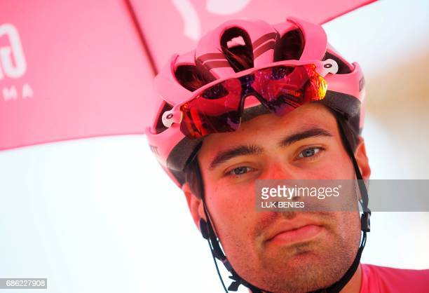 Pink Jersey Tom Dumoulin from Netherlands waits for the start of the 15th stage of the 100th Giro d'Italia Tour of Italy cycling race from Valdengo...