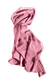 Pink silk kerchief draped on white background