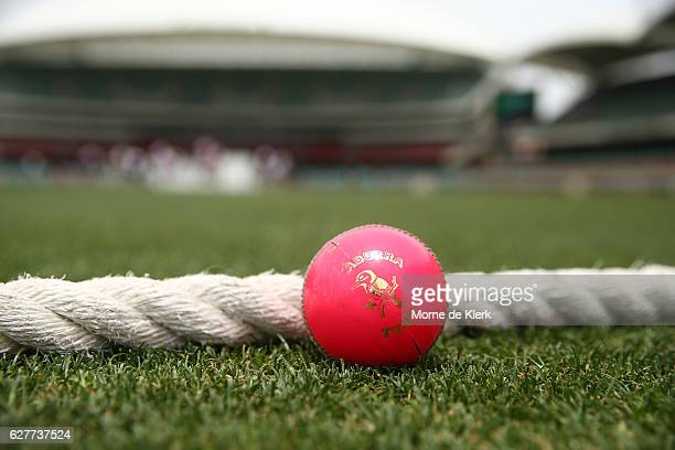 A pink Kookaburra cricket ball with green seam lies on the boundary rope before day one of the Sheffield Shield match between South Australia and New...