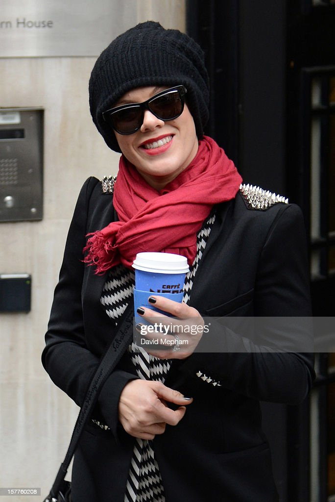 Pink leaves BBC Radio 2 studios on December 6, 2012 in London, England.