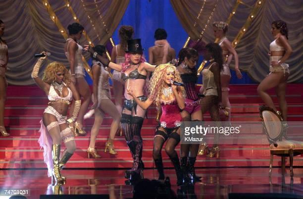 Pink Lil' Kim Mya Christina Aguilera during 2001 MTV Movie Awards Show at the Shrine Auditorium in Los Angeles California