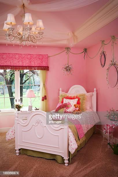 Rosa, niñas habitaciones elegantemente decoradas.