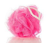 """A cute and feminine mesh sponge, also known as a pouf or bath puff, for use in the shower."""