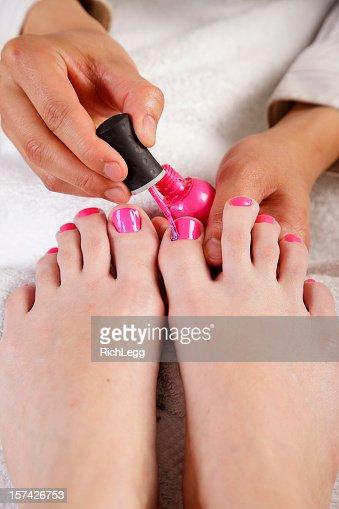 Pink Nail Polish Pedicure