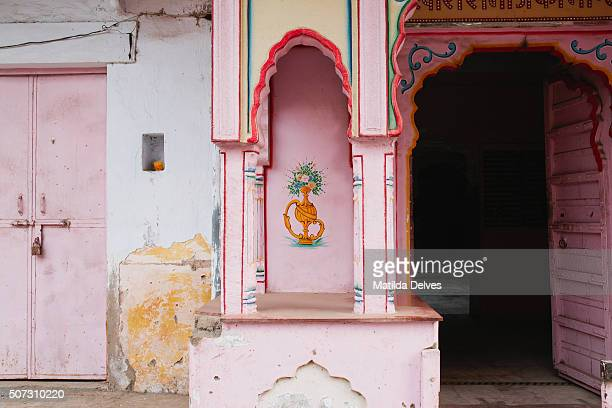 Pink painted temple, Pushkar Rajasthan India