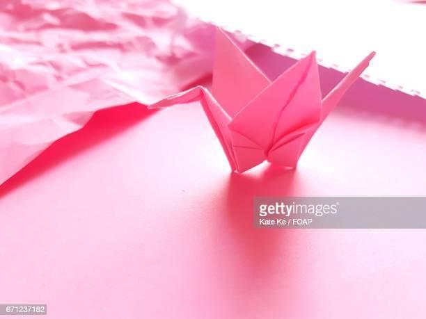 Pink paper crane