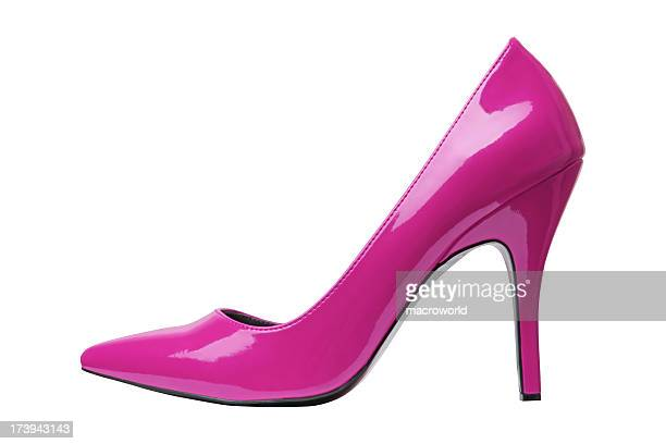 Pink, patent, high-heeled shoe on a white background