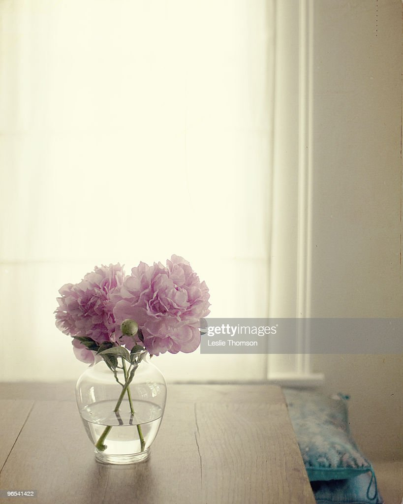 Pink peonies in a glass jar : Stock Photo