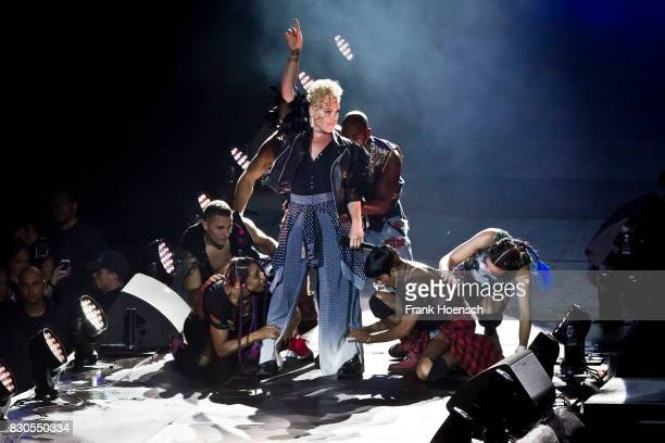 Pink performs live on stage during a concert at the Waldbuehne on August 11 2017 in Berlin Germany