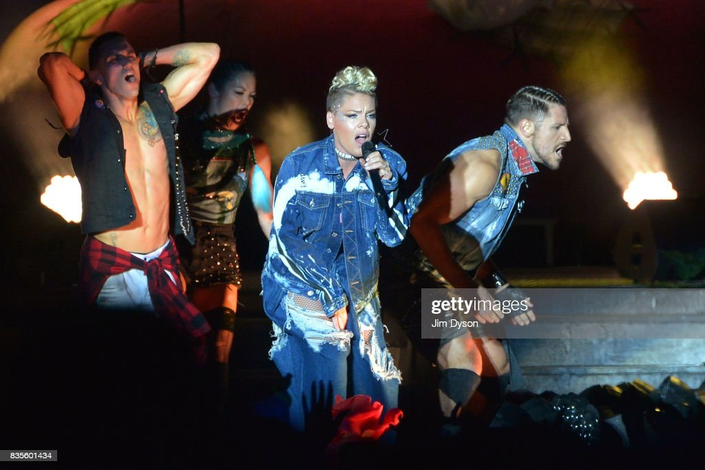 Pink performs live on stage during V Festival 2017 at Hylands Park on August 19, 2017 in Chelmsford, England.