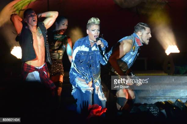 Pink performs live on stage during V Festival 2017 at Hylands Park on August 19 2017 in Chelmsford England