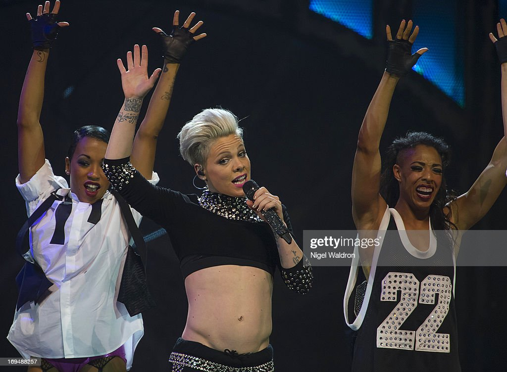Pink performs on stage at Telenor Arena during The Truth About Love Concert Tour 2013 at on May 25, 2013 in Oslo, Norway.
