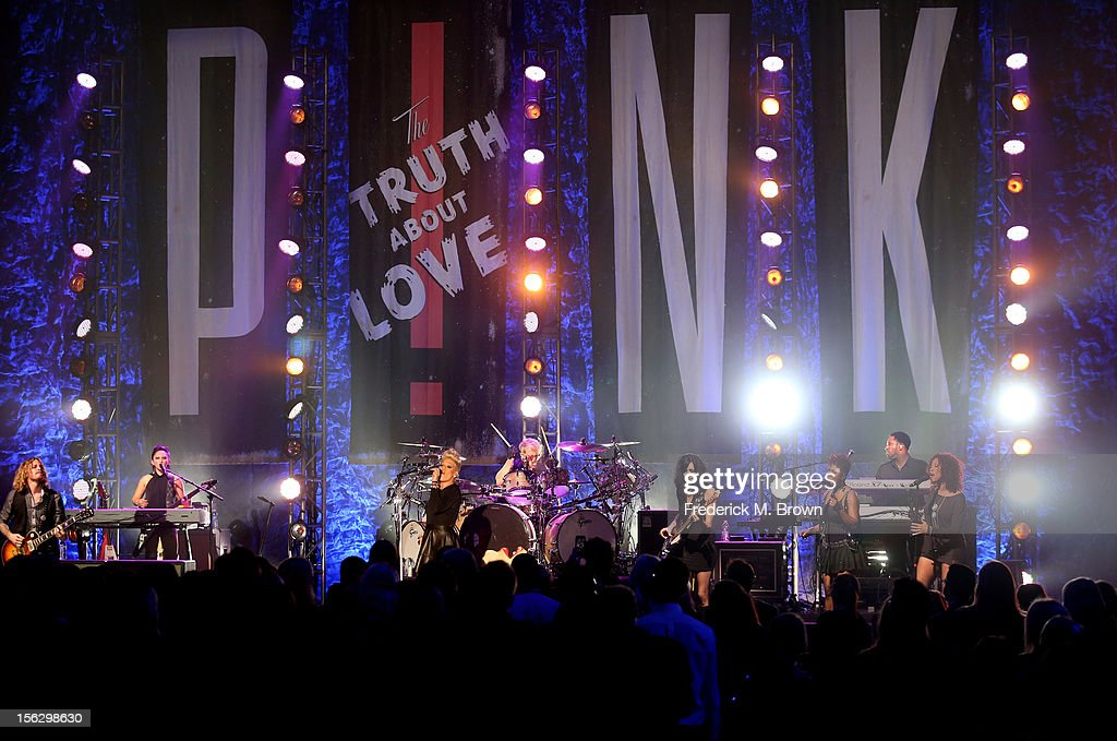 Pink performs onstage at the St. John's Health Center's Power Of Pink benefiting The Margie Petersen Breast Center at Sony Studios on November 12, 2012 in Los Angeles, California.