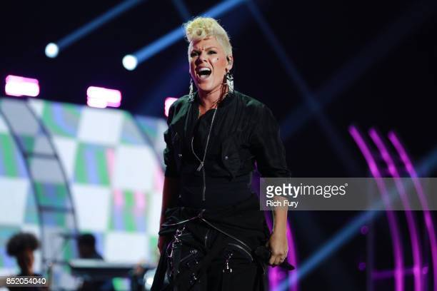 Pink performs onstage during the 2017 iHeartRadio Music Festival at TMobile Arena on September 22 2017 in Las Vegas Nevada